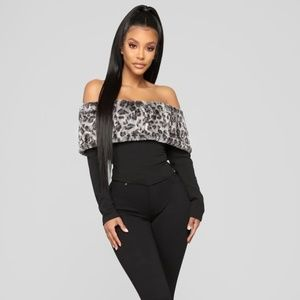 Fashion Nova Soho Faux Fur Off Shoulder Crop Top